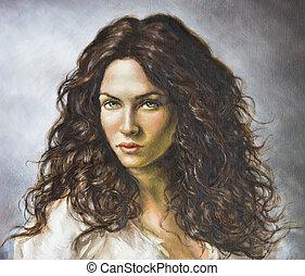 peinture, de, a, jeune femme