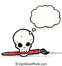 peinture, dessin animé, crâne, brosse