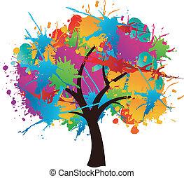 peinture eclabousse, arbre, isolé, printemps