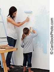 peinture, elle, fille, mère