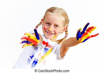 peinture, enfant, heureux, mains