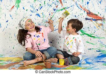 peinture, enfants jouer