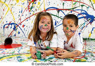 peinture, enfants