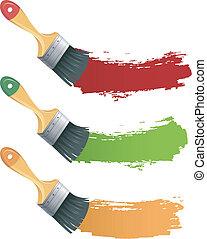 peinture, ensemble, brosse, coloré