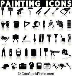 peinture, ensemble, icônes