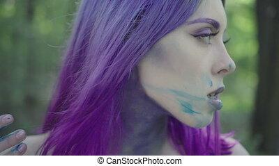 peinture, face., femme, smudging, elle