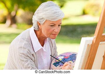 peinture, femme, parc, mûrir