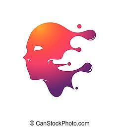 peinture, figure, service, coloré, logo, masque, peint