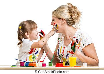 peinture, fille, ensemble, mère