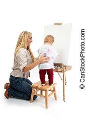 peinture, fille, maman
