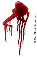 peinture, gouttes, rouges