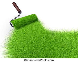 peinture, herbe