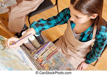 peinture, leçon, art, attirant, girl