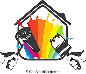peinture, logement, vecteur, silhouette