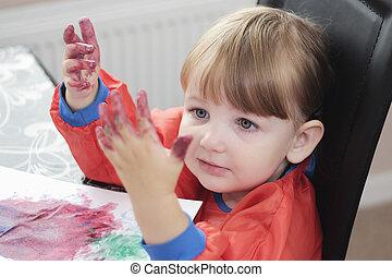 peinture, mains, elle, enfant