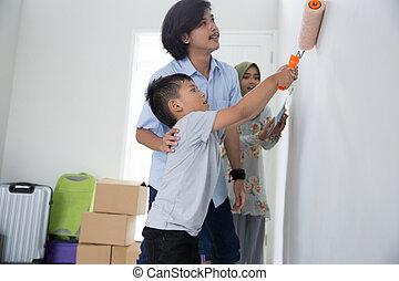 peinture, maison, fils, leur, nouveau, papa
