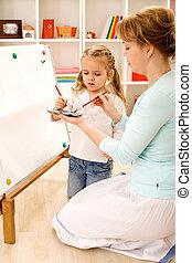 peinture, maman, apprentissage, comment