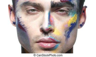 peinture, maquillage, jeune, man., figure