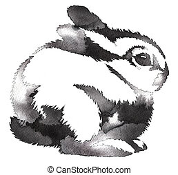 peinture, monochrome, lapin, dessiner, noir, eau blanche, encre, illustration