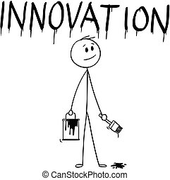 peinture mot, brosse, innovation, homme affaires, peinture, dessin animé, boîte