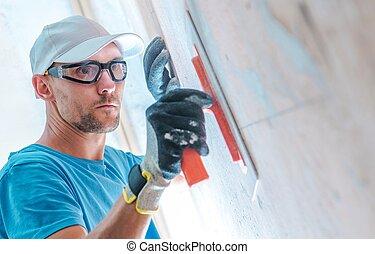 peinture, murs, niveler, avant