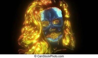 peinture, néon, vidéo, sucre, crâne, figure, femme, ...