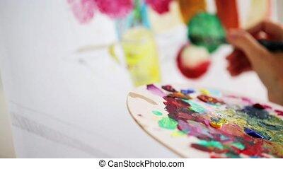 peinture, palette, studio, brosse, artiste