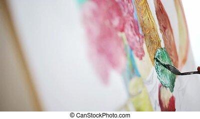 peinture, palette, studio, couteau, artiste