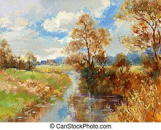 peinture, paysage, automne