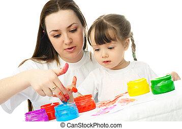 peinture, peintures, fille, doigt, mère