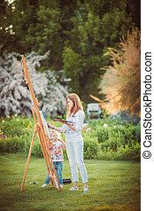 peinture, peu, fille, ensemble, mère