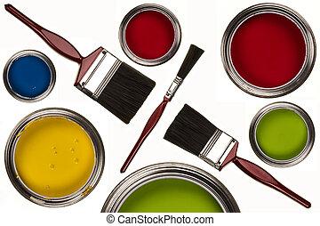 peinture, -, pinceaux, isolé, émulsion