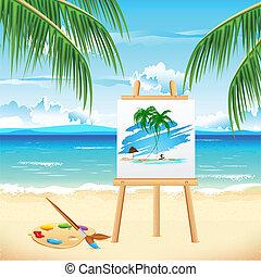 peinture, plage, mer