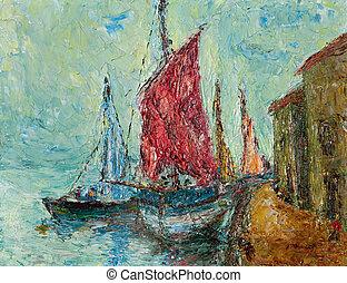 peinture, port maritime