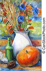 peinture, potirons, vie, automne, encore, fleurs, huile