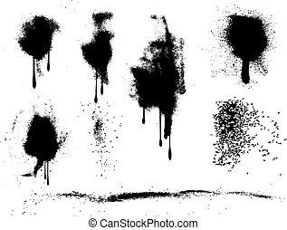peinture, pulvérisation, grunge, splats