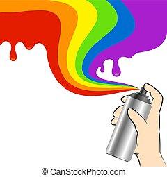 peinture, pulvérisation, main