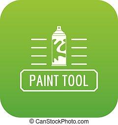peinture, pulvérisation, vecteur, vert, icône