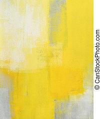 peinture, résumé,  art, gris, jaune