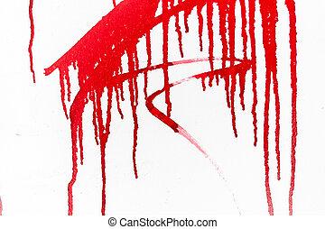 peinture rouge, blanc, mur
