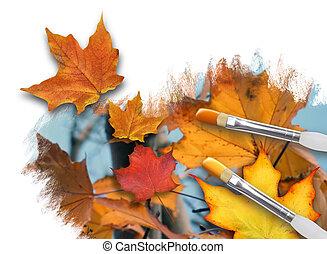 peinture, saison chute, feuilles, blanc