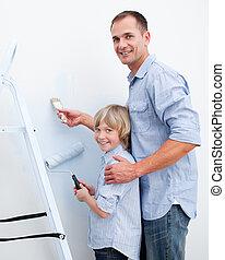 peinture, sien, père, salle, fils