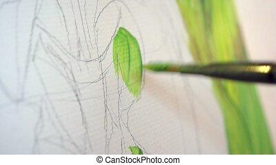 peinture, toile, peinture, vert