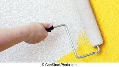 peinture, utilisation, main, rouleau