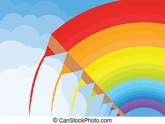 peinture, vecteur, coloré, crayons