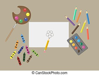 peintures, crayons, dessin, ensemble