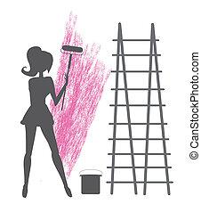 peintures, girl, mur