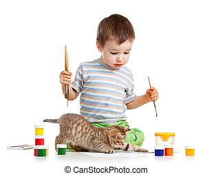 peintures, gosse, dessin, chat