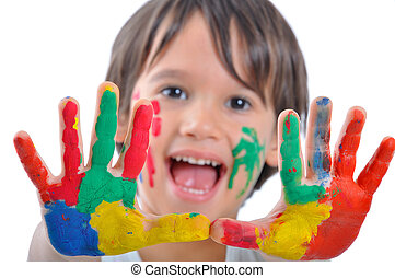 peintures, heureux, gosse, mains