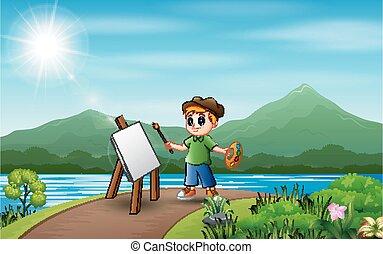 peintures, image, nature, garçon, paysage